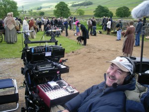 """JP with his trolley – """"Out on the wild and windy moors"""" – Wuthering Heights, 2008."""